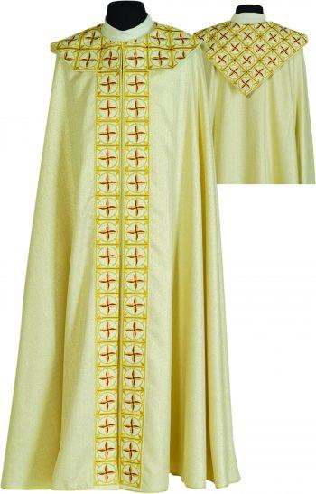 """Piviale """"Croci2"""" Maranatha Lab in tessuto laminato oro con stolone e retro collo ricamati a motivi floreali."""