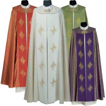 """Piviale """"Calvario"""" Maranatha in tessuto lurex decorato con ricami diretti cruciformi e tessitura rigata."""