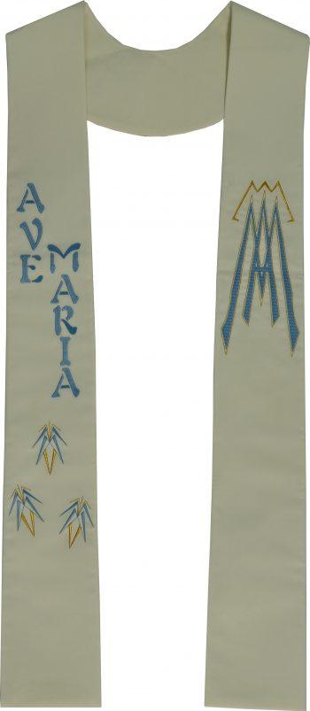 """Stola """"Filadelfia"""" Maranatha Lab in tessuto micromonastico arricchita da simbolo Mariano e scritta """"Ave Maria""""."""