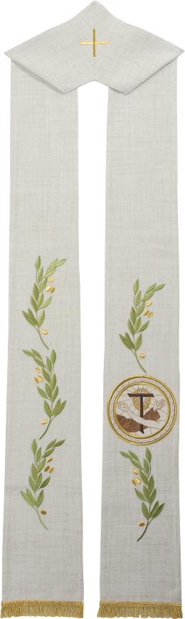 """Stola """"Stimmate"""" Maranatha Lab in tessuto canapa e lino, decorata con ricamo francescano e spighe di grano."""