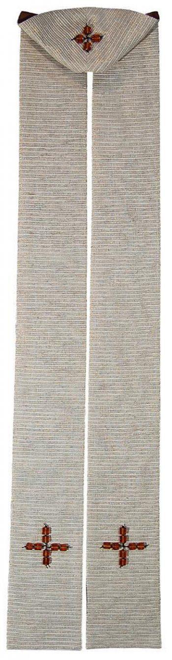 """Stola """"Crux"""" Maranatha Lab in seta greggia dall'estremità decorate con croci"""