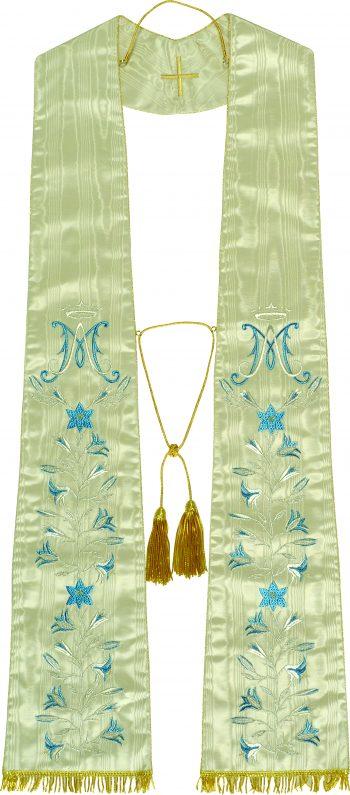 """Stola """"Anna"""" Maranatha Lab in tessuto pura seta, decorata con ricamo diretto mariano e motivi floreali."""