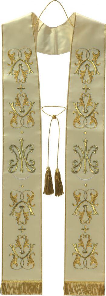 """Stola """"Stella"""" Maranatha Lab confezionata in un tessuto di pura seta e interamente ricamata con motivi floreali"""
