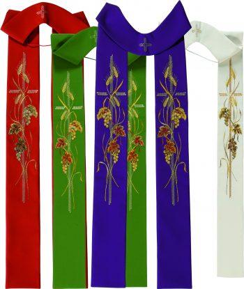 """Stola """"Giacomo"""" Maranatha Lab in tessuto micromonastico interamente ricamata con motivo cruciforme e simboli del grano e dell'uva"""