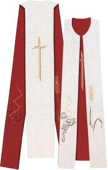 """Tristola """"Tempio"""" Maranatha Lab bicolore in tessuto micromonastico con ricamo cruciforme e simboli del grano e dell'uva"""