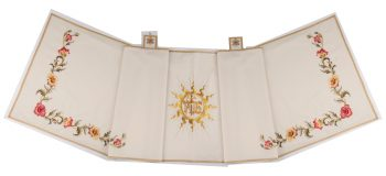 "Velo-Omerale ""Sepolcro"" Maranatha Lab in tesusto fresco lana con ricamo oro floreale e simbolo ""Jhs"""