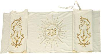 """Velo-Omerale """"Spighe"""" Maranatha Lab in tessuto pura lana con ricami floreali dorati e simbolo centrale JHS."""