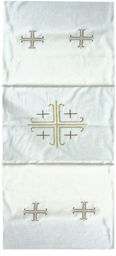 """Velo-Omerale """"Croci"""" Maranatha Lab in tessuto micromonastico, decorato con ricami cruciformi dorati."""