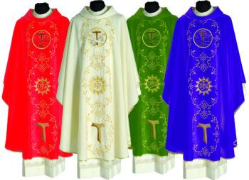 """Casula """"Rivo-Torto"""" Maranatha Lab in tessuto fresco lana arricchita con ricamo diretto francescano."""