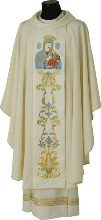 "Casula ""Soccorso"" Maranatha Lab in tessuto fresco lana con stolone ricamato a motivi floreali ed effigie mariana"
