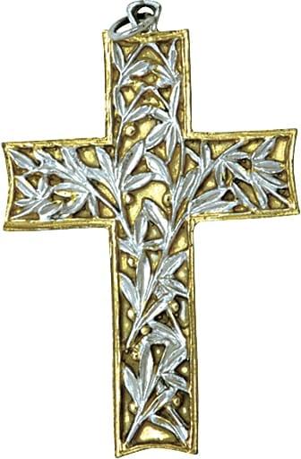 """Croce Pettorale """"Ulivo"""" Maranatha Lab in argento bicolore cesellata a mano impreziosita da decoro a foglie di ulivo"""