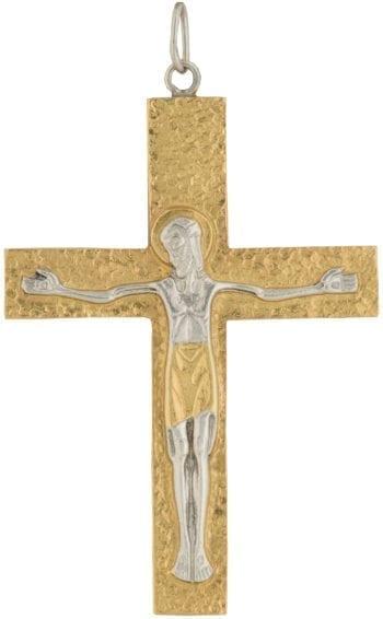"""Croce-Pettorale """"Via"""" Maranatha Lab in argento bicolore martellato impreziosita da incisione del Cristo Crocifisso"""