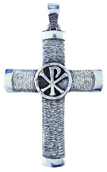 """Croce-pettorale """"Crismon"""" Maranatha Lab in argento con lavorazione graffiata e simbolo Chi-Rho inciso"""