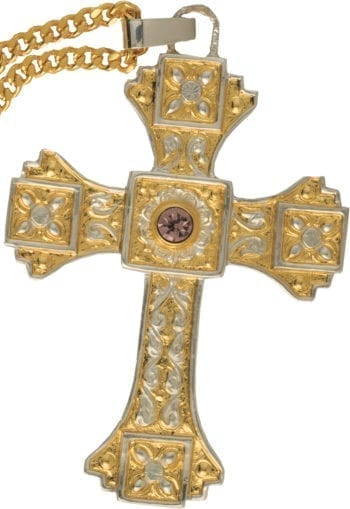 """Cross-Bib """"Ambrose"""" Maranatha Lab in two-tone hand chiseled fusion with floral decorations and pink stone"""