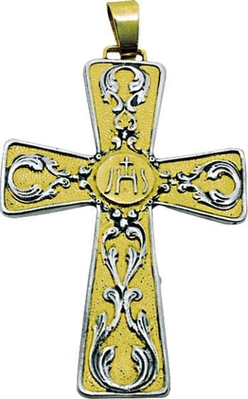 Maranatha Lab bib cross in two-tone molten lost wax brass decorated with ornate and Jhs symbol