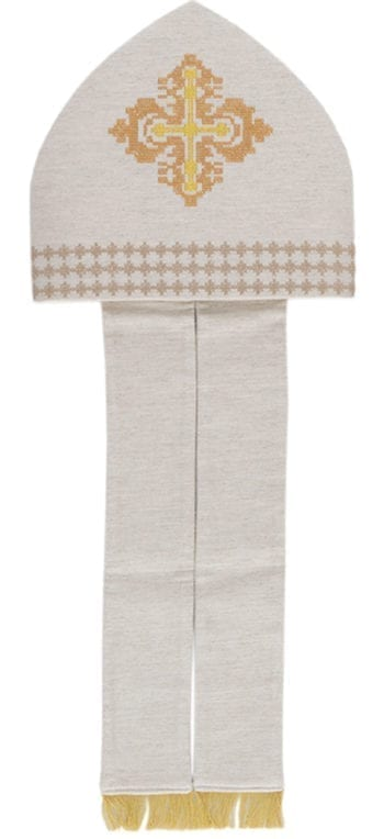 """Miter """"Ambrogio"""" Maranatha Lab in hemp and linen embellished with embroidery with cross stitch motifs."""