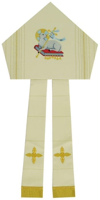 """Maranatha Lab """"Lamb"""" miter in wool fabric, decorated with striped weaving and embroidery of the Lamb of God."""