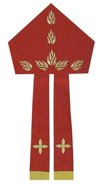 """Maranatha Lab """"Pentecost"""" miter in cool wool fabric, embellished with direct embroidery of 7 flames dove."""