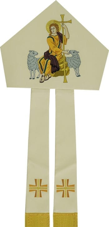 """Maranatha Lab """"Good Shepherd"""" miter in woolen fabric with headdress, decorated with embroidery of the Good Shepherd."""