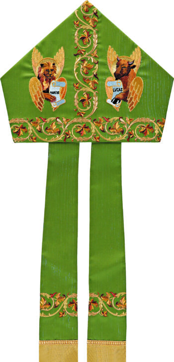 """Miter """"Evangelisti"""" Maranatha Lab in wool fabric, with embroidery of the evangelists Luke and Mark and floral motifs."""