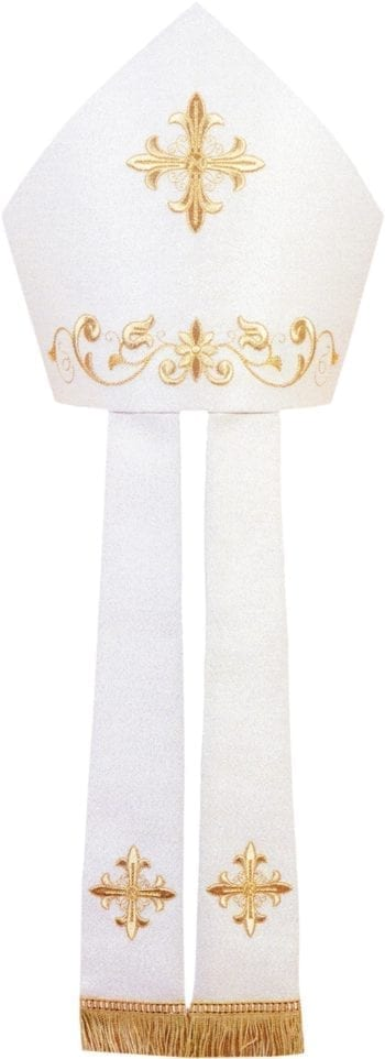 """Maranatha Lab """"Tarso"""" miter in cool wool fabric, embellished with embroidery of golden crosses and floral motifs."""