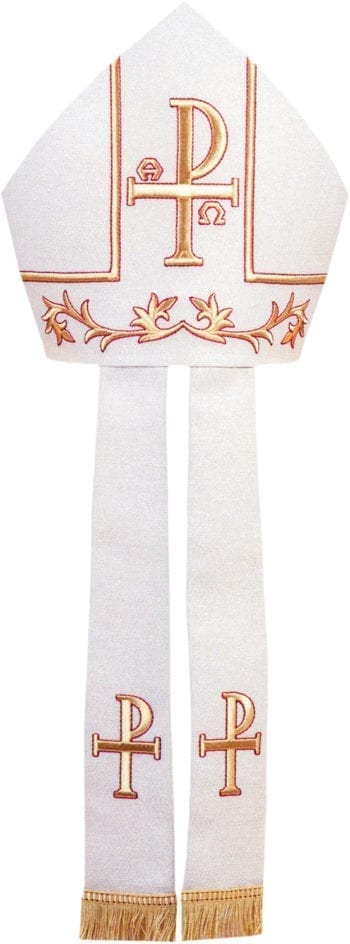 """Maranatha Lab """"Crismon"""" miter in cool wool fabric embellished with embroideries of the PX symbol in golden threads."""