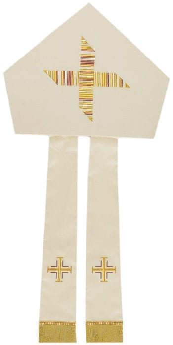 """""""Agostino"""" Maranatha Lab miter in wool and silk fabric enriched by a cross embroidered with gold wefts."""