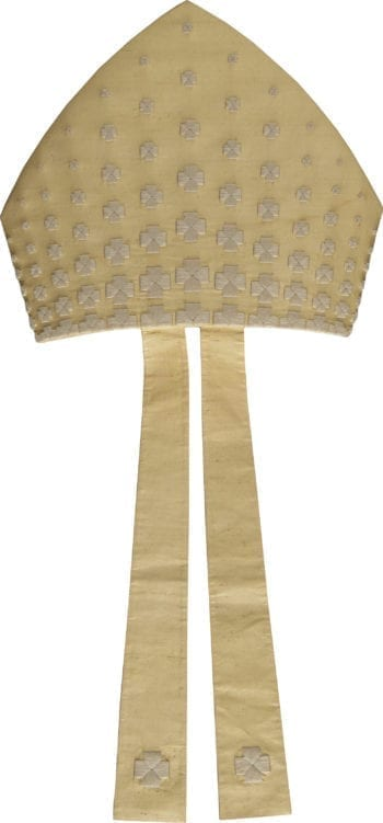 miter embroidery Pietrobon crosses in pure silk, embellished with widespread cruciform embroidery on the headdress and at the ends of the infule. Made in Italy tailored packaging