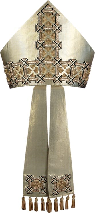 Pietrobon silk lurex miter in gold-colored silk embellished with geometric embroidery in gold and beads and fringed with golden threads. Made in Italy tailored packaging