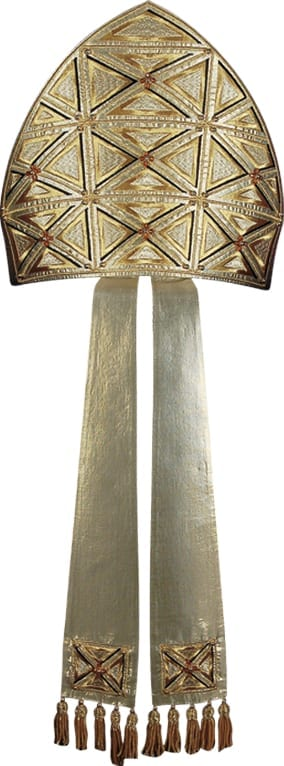 miter Greek cross Pietrobon in lurex silk with headdress entirely embroidered with crosses and infule from the ends embroidered with fringes in gold threads