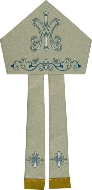 """Maranatha Lab """"Stella"""" miter in wool fabric, embellished with Marian embroidery and silver floral motifs."""