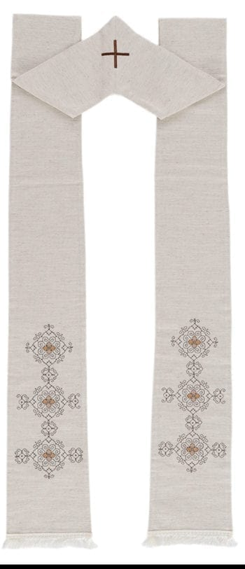 """Maranatha Lab """"Friar-Guardian"""" stole in hemp and linen enriched with hand-embroidered Assisi stitch motifs."""