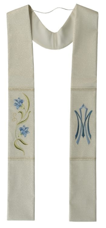"""Maranatha Lab """"Refuge"""" stole in lamé fabric with direct embroidery of blue lilies on the right side and Marian symbol on the left"""