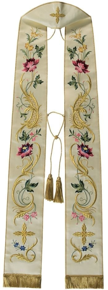 """""""Onesimo"""" Maranatha Lab stole in satin fabric, entirely embroidered in gold with floral motifs and crosses"""