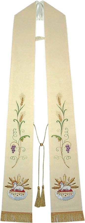 """Stola """"Agnus"""" Maranatha Lab classica ricamata con spighe di grano, grappoli di uva e simbolo dell'Agnello"""
