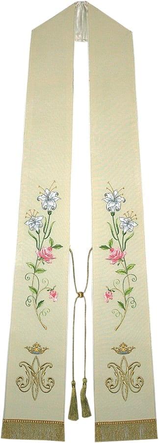 """Stola """"Maria"""" Maranatha Lab classica ricamata con fiori e simbolo mariano e frange in fili oro alle estremità"""