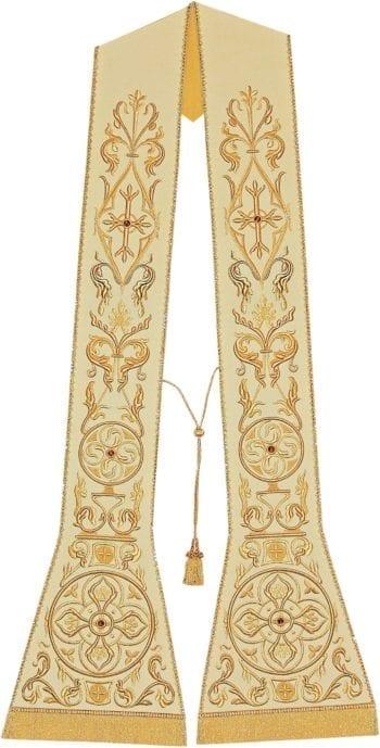 """Stola """"Dominus"""" Maranatha Lab taglio romano in tessuto moella misto seta con ricamo in oro e seta"""