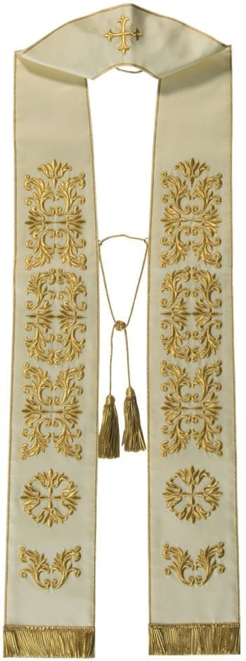 """""""Jericho"""" Maranatha Lab stole in micromonastic fabric entirely embroidered in gold with floral motifs."""