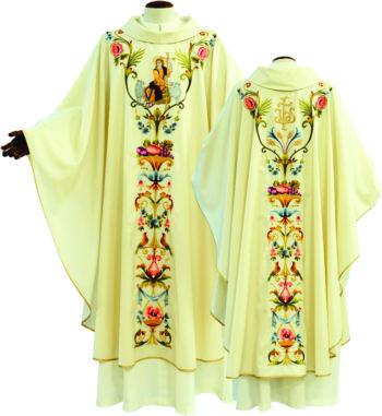 "Casula ""Geremia"" Maranatha Lab in tessuto fresco lana, con ricamo a motivi floreali ed effigie di Gesù Buon Pastore"
