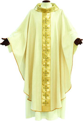 """Casula """"Croci"""" Maranatha Lab in tessuto misto seta dal taglio classico impreziosita con stolone in seta lurex ricamato in oro"""