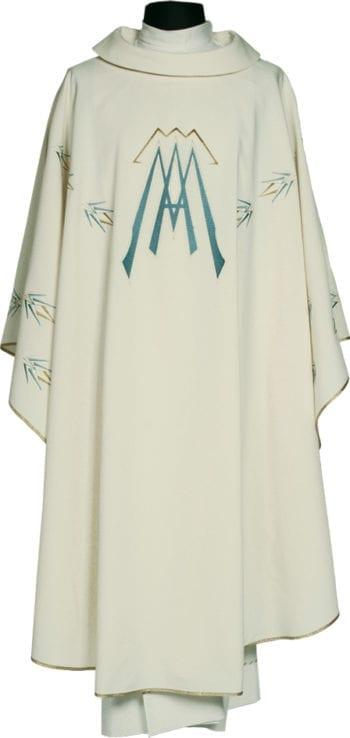 """Casula """"Levi"""" Maranatha Lab in tessuto micromonastico, con ricamo diretto del simbolo Mariano."""
