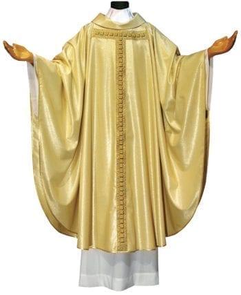 """Casula taglio classico """"Kerigma"""" in lana lurex impreziosita da stolone cruciforme dai tasselli dorati"""