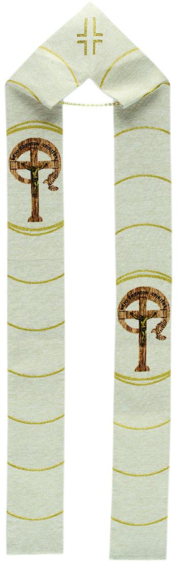 "Stola al telaio ""Charis"" interamente tessuta e ricamata al telaio con croce ""Veni Creator Spiritus"""