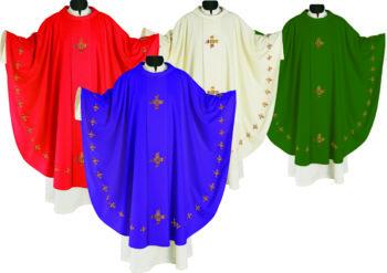 """Casula """"ruota-croci"""" Maranatha Lab in tessuto lana - seta con ricamo diretto di tre croci nelle tonalità sfumate"""
