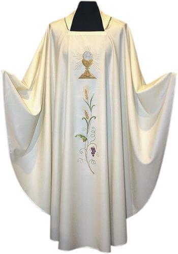 """Casula """"Calice"""" Maranatha Lab in tessuto fresco lana impreziosita da ricamo del simbolo eucaristico e decoro di spighe e grappolo d'uva"""