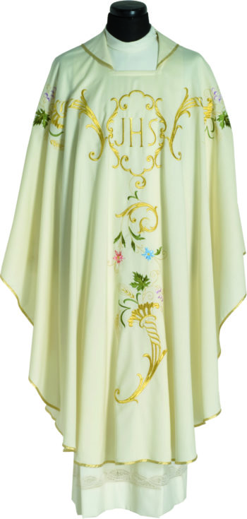 """Casula ricamata """"Nicea"""" in tessuto fresco lana impreziosita con ricamo diretto del simbolo Jhs e motivi floreali"""