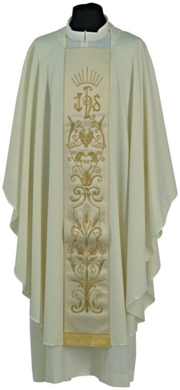 """Casula con stolone """"Mattino"""" in tessuto fresco lana con stolone ricamato in oro con motivi floreali e monogramma Jhs"""