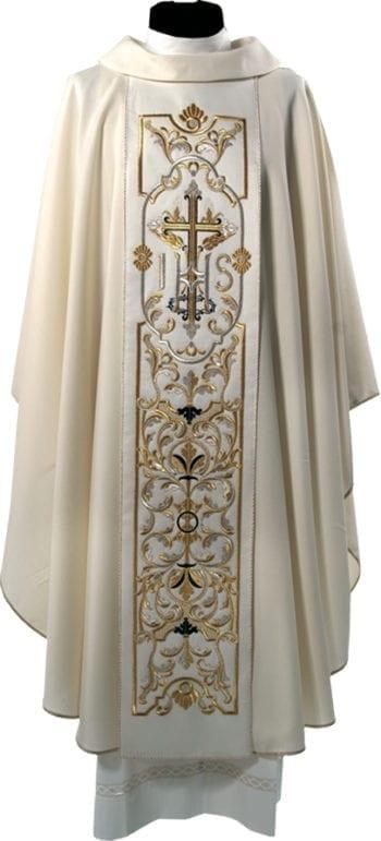 """Casula""""Santo""""MaranathaLab in tessuto fresco lana con stolone ricamato a motivi floreali e simbolo Jhs."""
