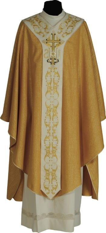 "Casula ""Kairos"" Maranatha Lab in lana lurex con stolone ricamato da motivi classici e simbolo JHS."