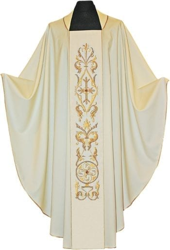 """Casula """"Koinonia"""" Maranatha Lab in tessuto fresco lana con stolone ricamato con motivi floreali in oro"""